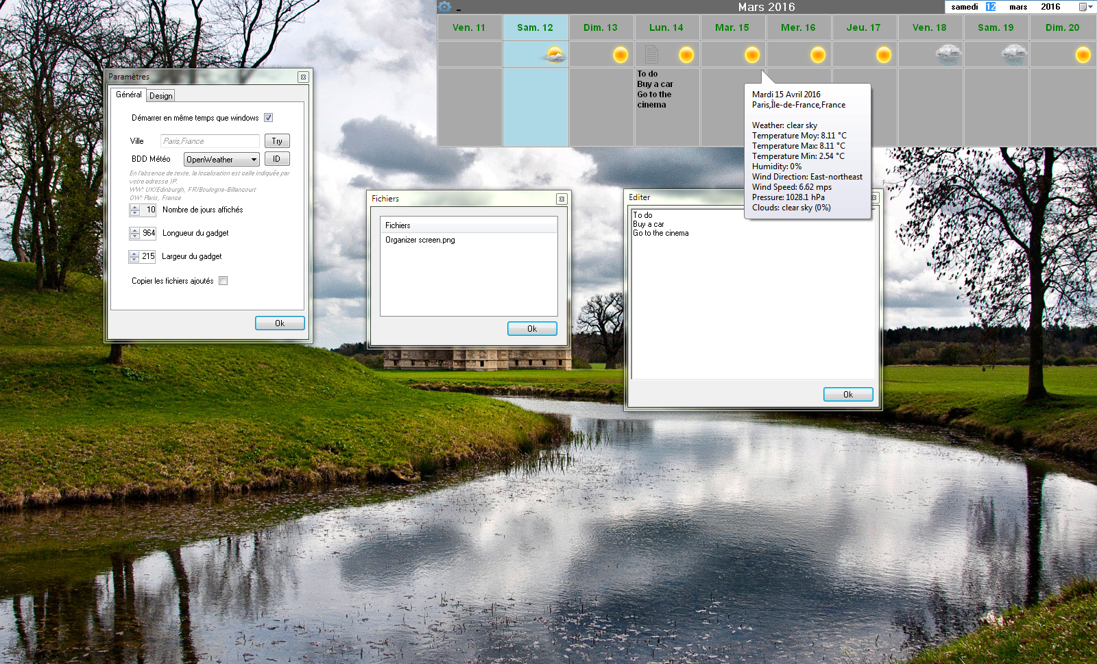 Capture d'écran Organizer