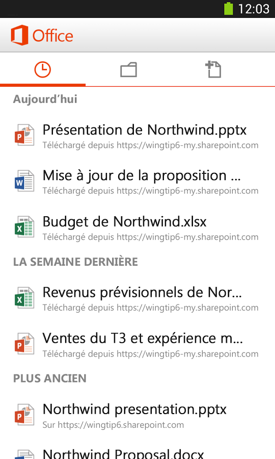 Capture d'écran Microsoft Office Mobile pour Android