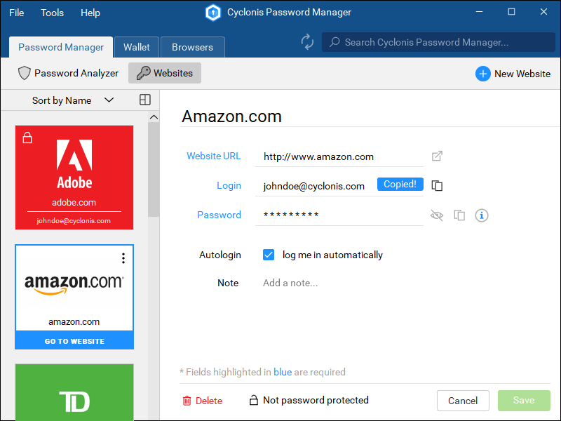Capture d'écran Cyclonis Password Manager