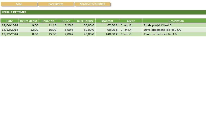 Capture d'écran Feuille de Temps Excel