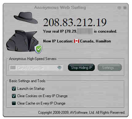 Capture d'écran Anonymous Web Surfing