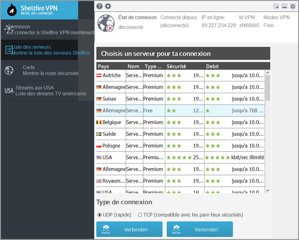 Capture d'écran Shellfire VPN