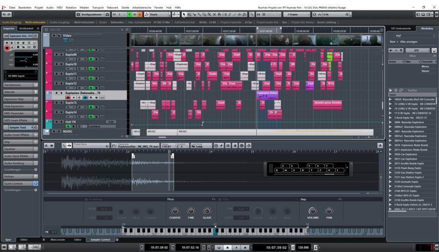 Capture d'écran Nuendo Mac