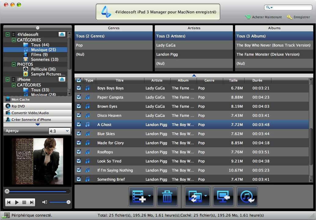 Capture d'écran 4Videosoft iPad 3 Manager pour Mac