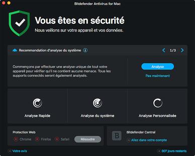 Capture d'écran BitDefender Antivirus pour Mac