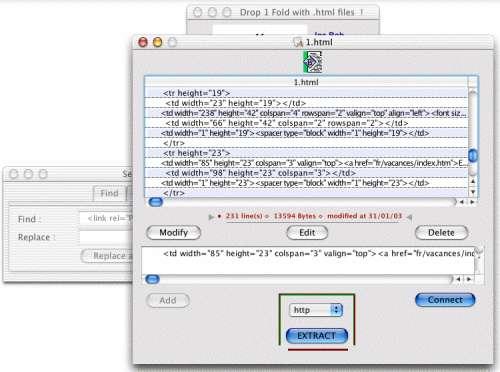 Capture d'écran EXTRACTEUR URL