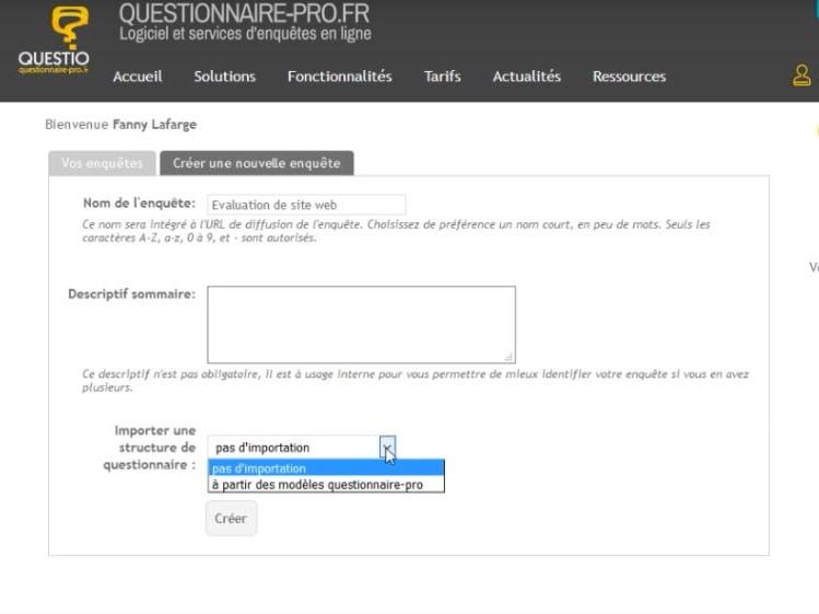 Capture d'écran questionnaire-pro