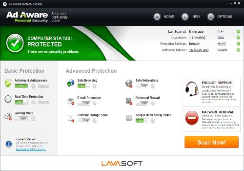 Capture d'écran Ad-Aware Personal Security