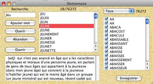 Capture d'écran Dictionnaire