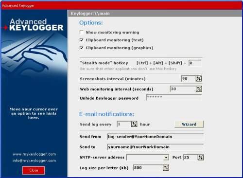 Capture d'écran Advanced Keylogger