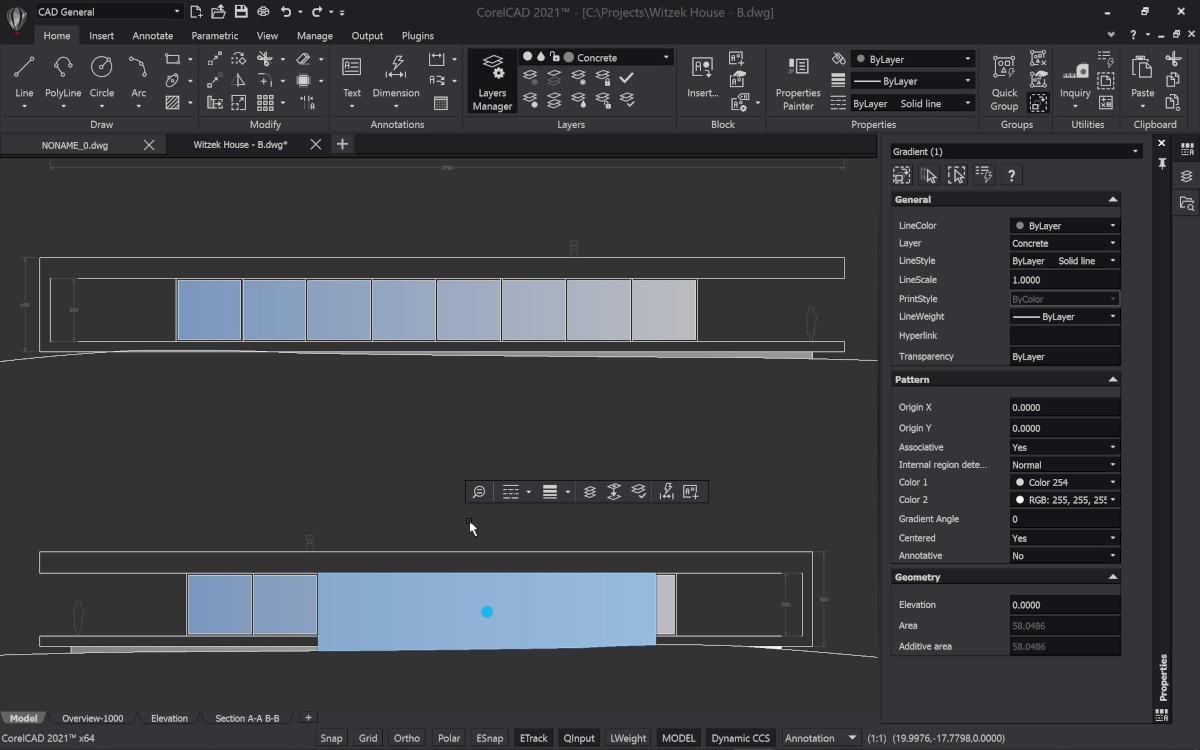 Capture d'écran CorelCAD 2020