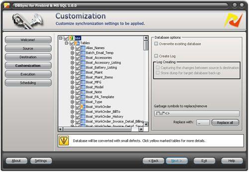 Capture d'écran DBSync for Firebird and MS SQL