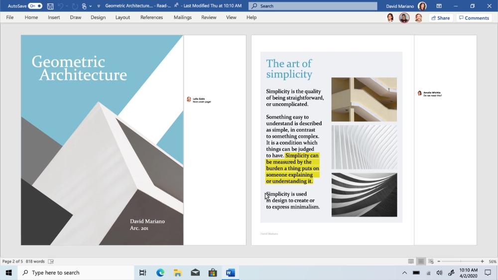 Capture d'écran Office 365