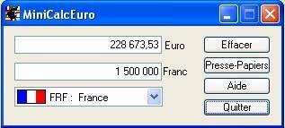 Capture d'écran MiniCalcEuro