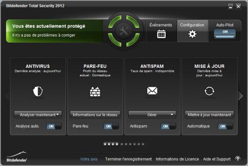 Capture d'écran Bitdefender Total Security 2012