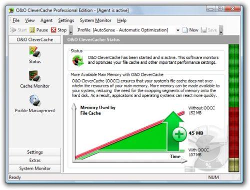 Capture d'écran O&O CleverCache Professional Edition