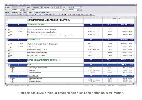 Capture d'écran EBP Bâtiment PRO 2014