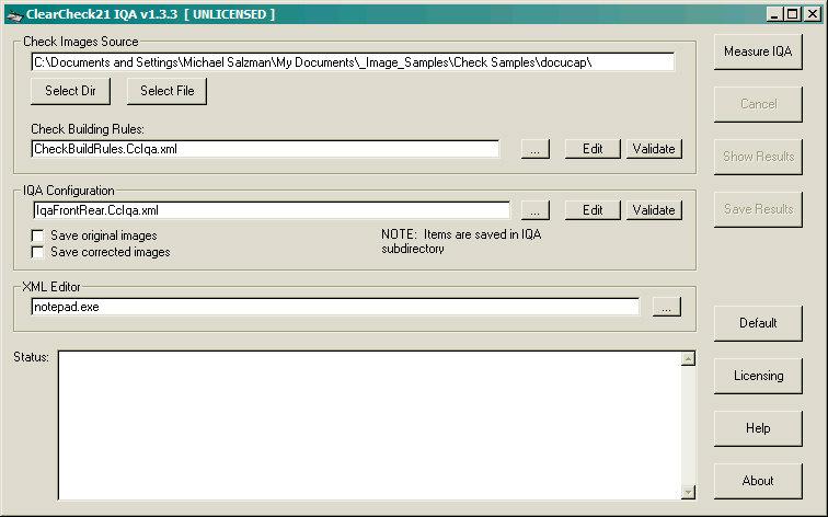 Capture d'écran ClearCheck21 IQA Engine