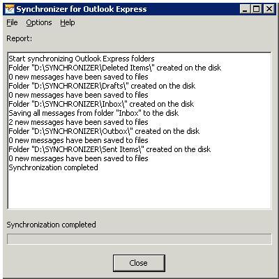 Capture d'écran Synchronizer for Outlook Express
