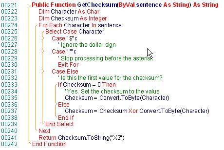 Capture d'écran VS.NETcodePrint 2005