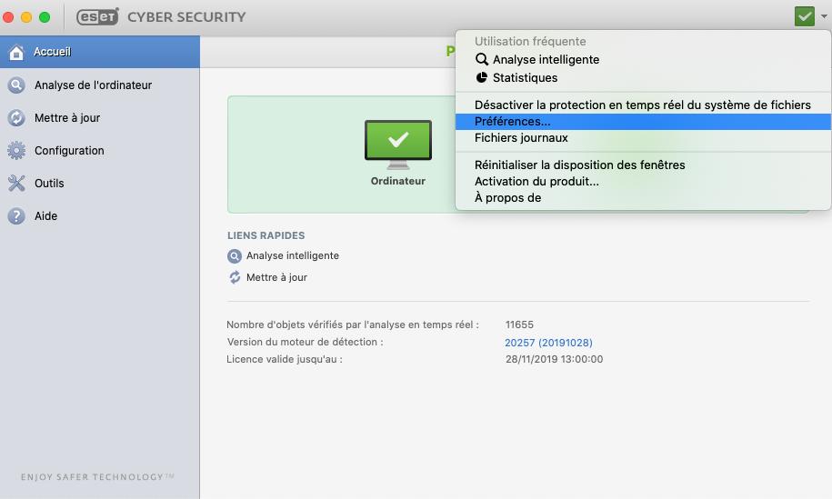 Capture d'écran ESET CyberSecurity pour Mac
