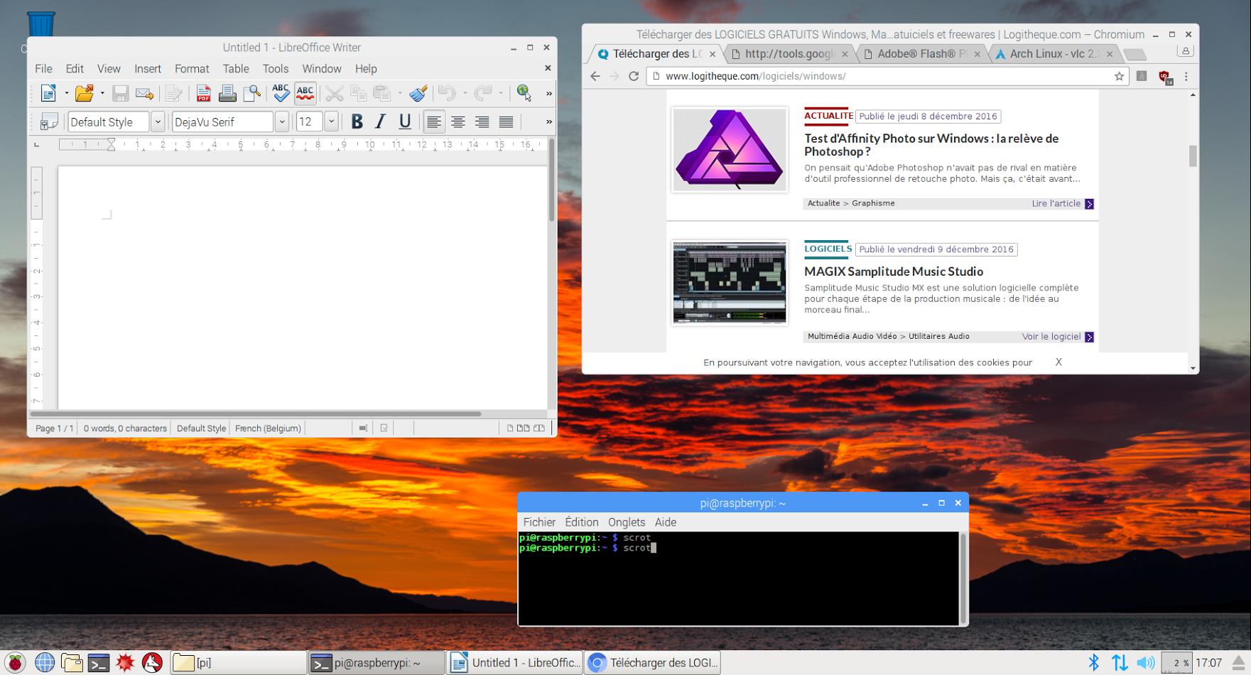Capture d'écran Raspbian