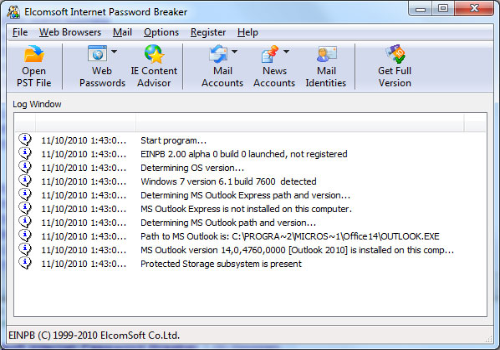 Capture d'écran Elcomsoft Internet Password Breaker