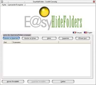 Capture d'écran EasyHideFolders