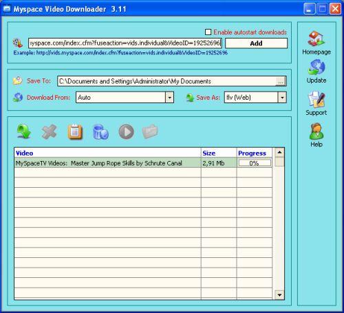 Capture d'écran Myspace Video Downloader