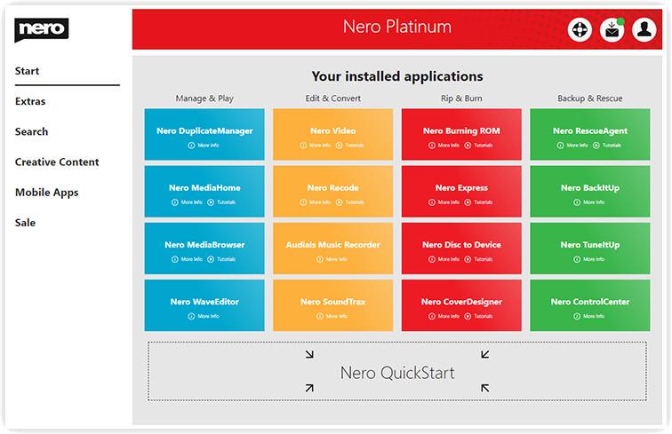 Capture d'écran Nero Platinum 2020