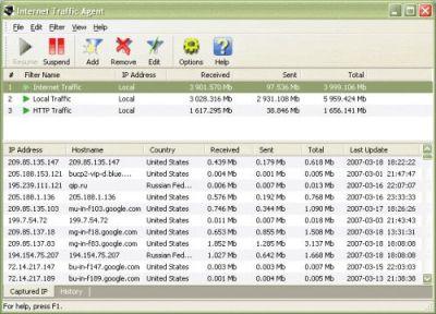 Capture d'écran Internet Traffic Agent