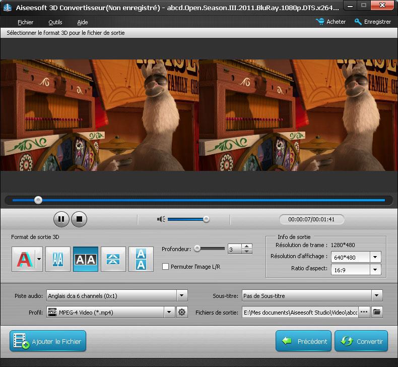 Capture d'écran Aiseesoft 3D Convertisseur
