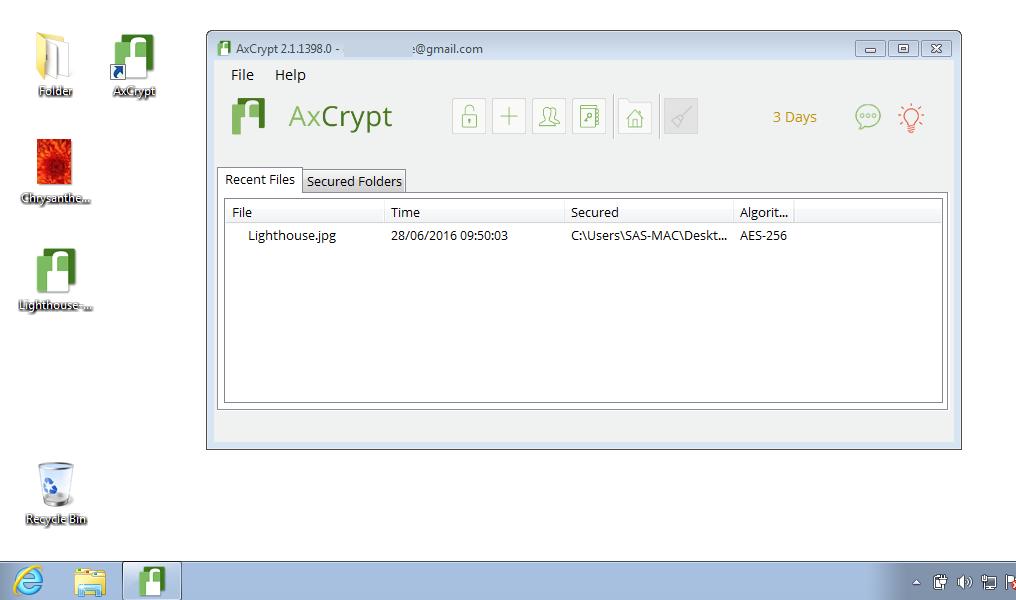 Capture d'écran AxCrypt