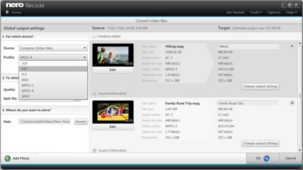 Capture d'écran Nero Recode 2014