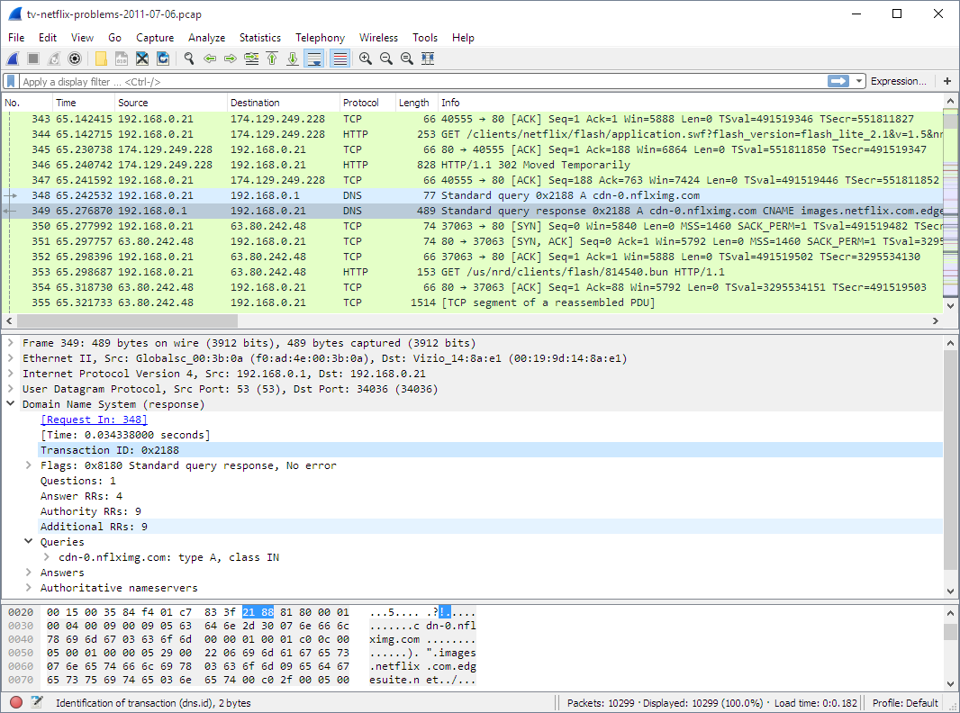 Capture d'écran Wireshark