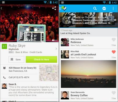 Capture d'écran Foursquare Android