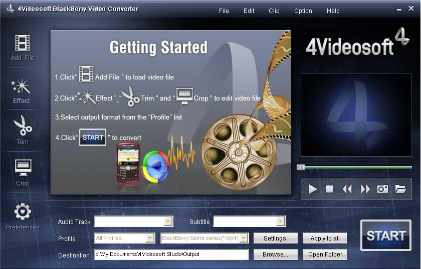 Capture d'écran 4Videosoft BlackBerry Vidéo Convertisseur