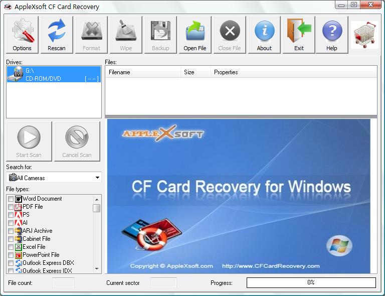 Capture d'écran Compact Flash Card Recovery