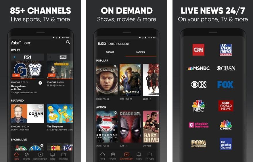 Capture d'écran FuboTV Android