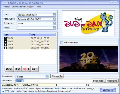 Capture d'écran EasyDVDToDivx