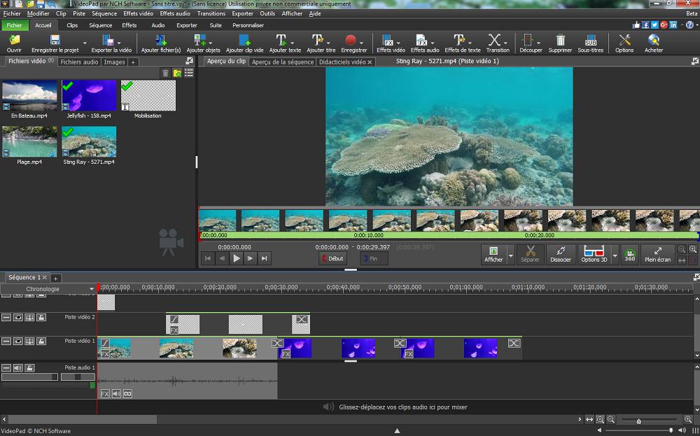 Capture d'écran VideoPad – Logiciel de montage vidéo