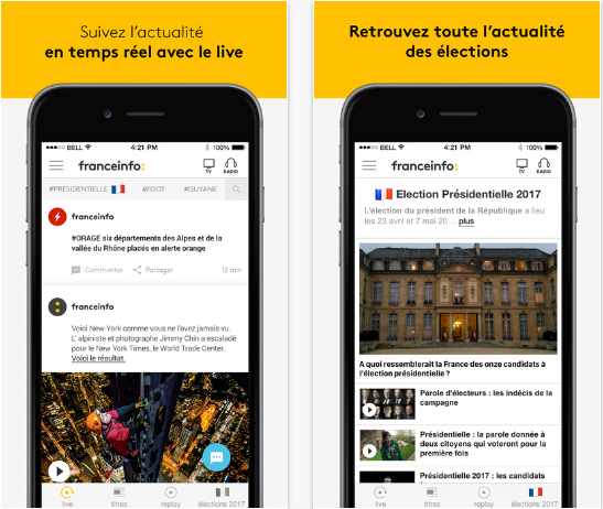Capture d'écran France info iOS
