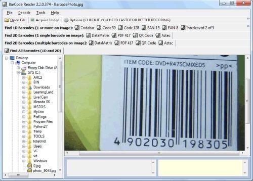 Capture d'écran Bytescout BarCode Reader