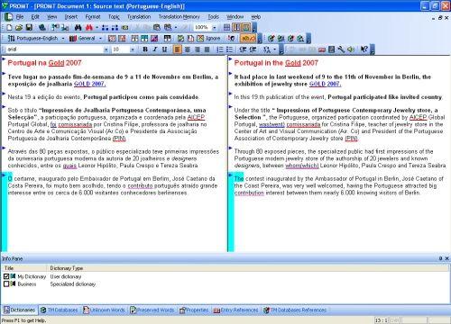 Capture d'écran @promt Professional Translator En-Pt
