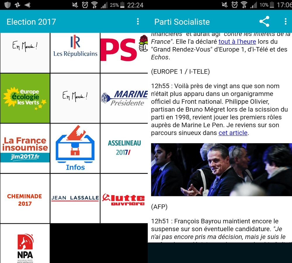 Capture d'écran Election France Android