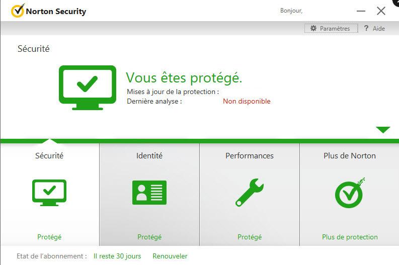 Capture d'écran Norton Security Premium