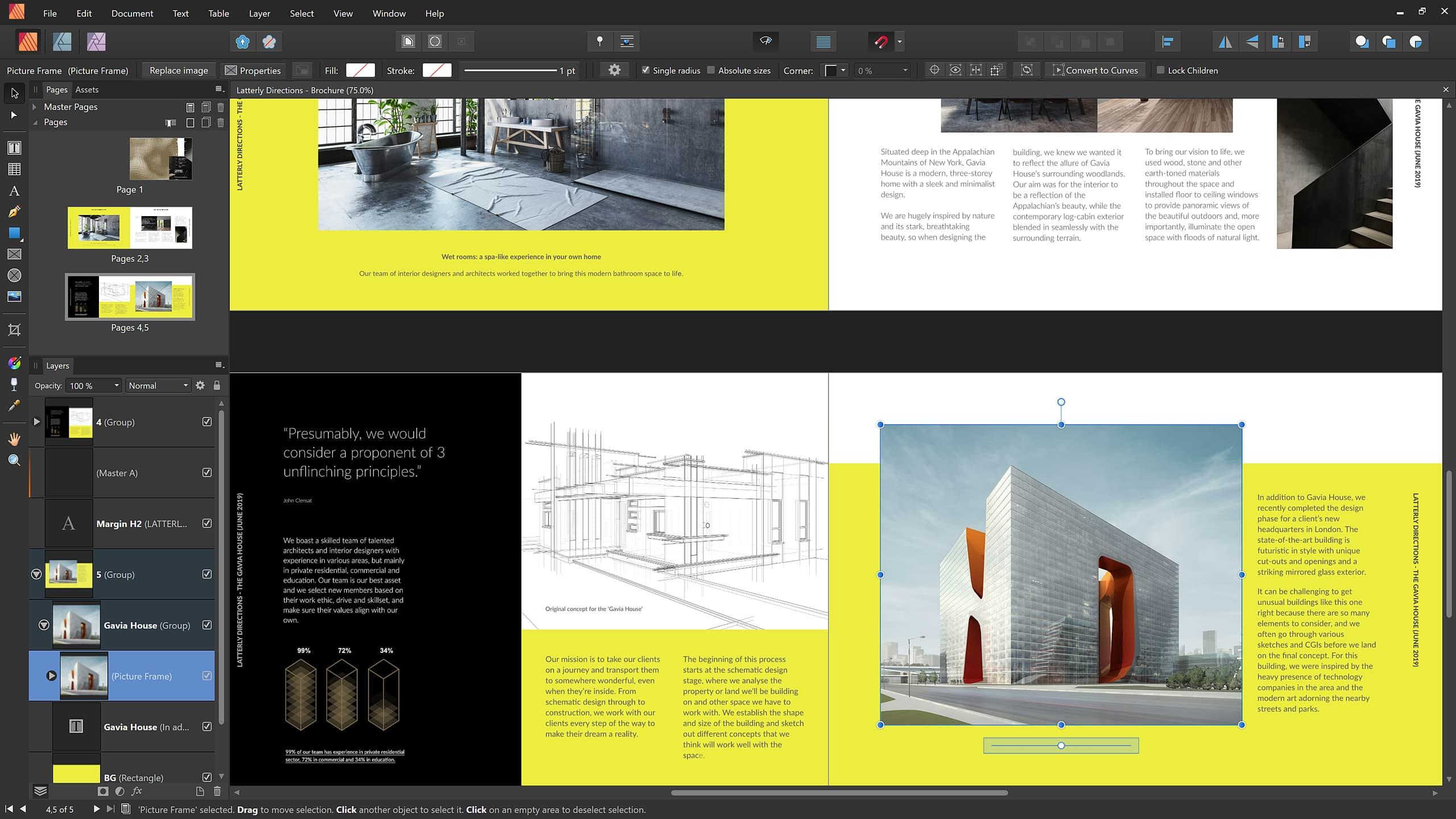 Capture d'écran Affinity Publisher
