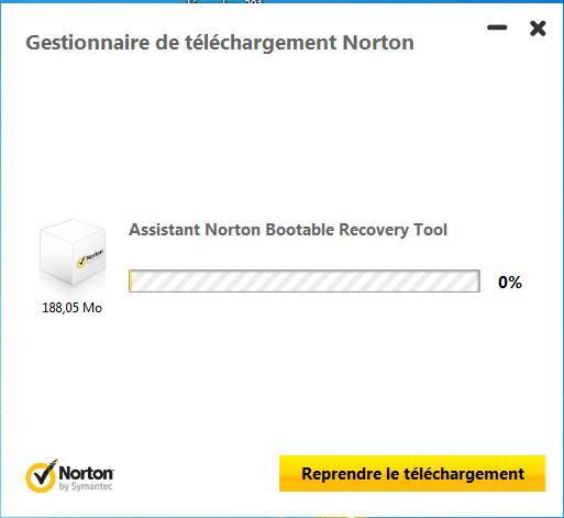 Capture d'écran Norton Bootable Recovery Tool