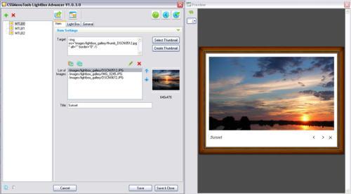 Capture d'écran LightBox Advancer for Expression Web