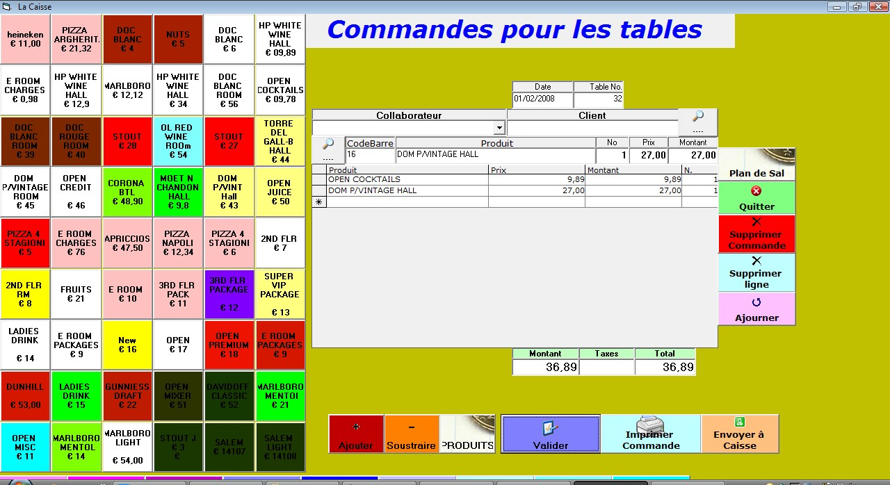 Capture d'écran RESTAURANT FACILE Logiciel de Gestion